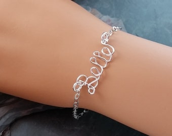 Sterling Silver Personalized Attached Wire Name Bracelet -or- Anklet, customized