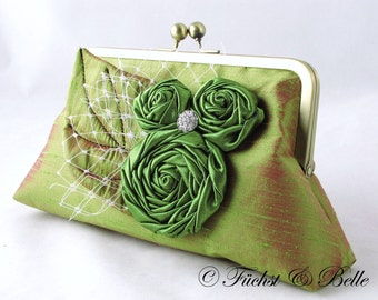 Green silk clutch with rosettes with leaf and rhinestone - Olive green dupioni silk