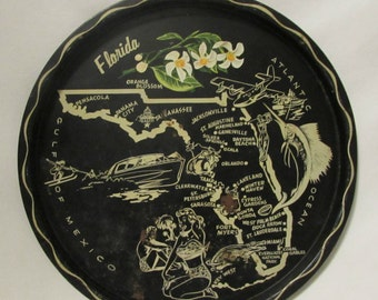 Tray, Florida State Souvenir, Steel, Black, 1950's