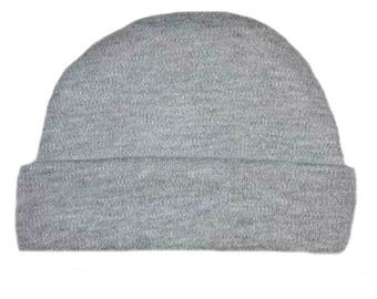 Heather Gray Capped Baby Hat. 100% Cotton Knit. Double Thick with a Built in Cap to Stay on Baby's Head. Preemie, Newborn Sizes to 6 Months