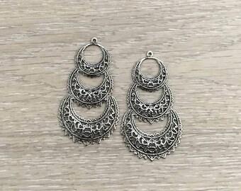 Earring Stampings, Antique Silver Plate, Chandelier Earrings, 67x38 mm