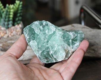"328g Green Fluorite Specimen, 3.5"" Fluorite Stone, Wiccan Altar Supplies, Lapidary, Chakra, Reiki, Oddities, Bohemian Home Decor, Raw Stone"