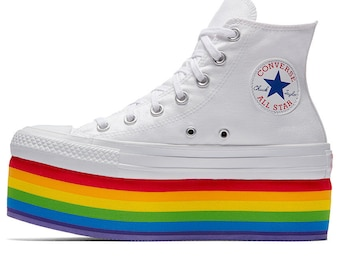 Rainbow Converse High Top Ladies Pride Platform 2018 Miley Cyrus Custom LGTBQ w/ Swarovski Crystal Chuck Taylor All Star Sneakers Shoes