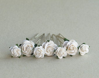 White Flower Hair Pins - Set of 7 - Bridal hair accessories - Made of mulberry paper flowers and U pins