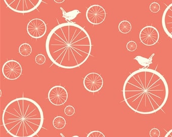 Birdie Spokes Coral, Birch Organic, Mod Basics, Pink Coral Birds, Modern Fabrics, One Yard, More Available