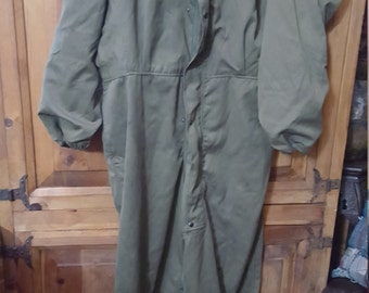 Army Green Coveralls/Jumpsuit Size L Sold As Is Repaired With Patch