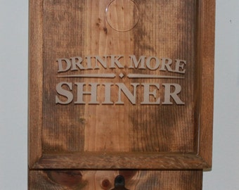 Drink More SHINER/Bottle Cap Holder/Bottle Opener/Beer Decor/Bar Decor/Father's Day/Man Gift/Engraved/Christmas Gift/Beer Cap Box/Shadow Box