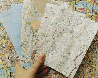 Set of 10 vintage envelopes handmade from maps
