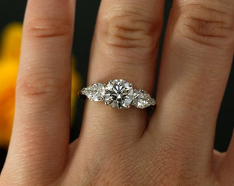 7mm Forever Brilliant and NEO Moissanite Three Stone Engagement Ring in 14K White Gold (rose gold, yellow gold and platinum available)