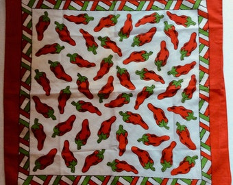 Vintage 1980s Red Pepper Cotton Caliante Southwestern Mexican Texas Scarf/Bandana