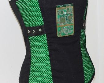Circuit Board Corset Cyberpunk Cyber Punk Futuristic Rave Apocalyptic Bodice Top Goth Gothic Cosplay Black Lime Acid Green Custom Size Plus