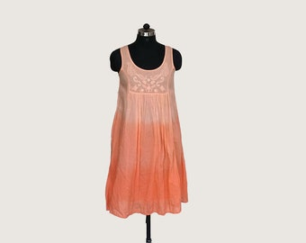 Coral Embroiderd Bohemian dress, Shaded tiedye dress, Cotton summer embroiderd hippie dress