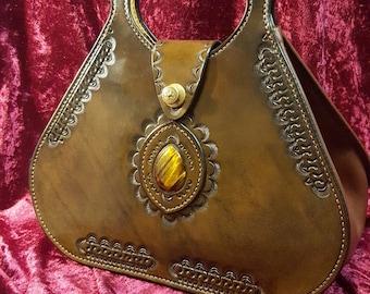 Handbag leather with Tiger eye