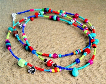 long beaded necklace, boho jewelry, colorful jewelry, tribal necklace, gift for her, adjustable necklace, under 25
