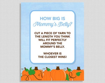 How Big is Mommy's Belly Sign, Blue Pumpkins Baby Shower Game Print, Fall Baby Shower, Baby Boy, INSTANT PRINTABLE