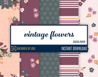 Vintage Flowers Digital Paper | Vintage Floral Digital Paper | Shabby Chic Digital Paper | Fall Digital Paper | Purple Flower Paper