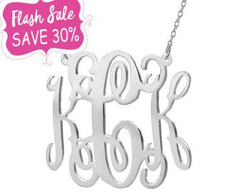 Silver monogram necklace 2 inch pendant select any initial made with 925 Sterling silver