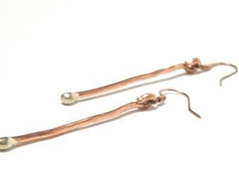 """Copper Earrings, Silver, Women, Teen, 2.5"""" Long, Ready To Ship,,"""