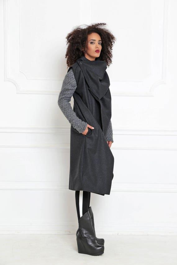 A Clothing Coat Wrap Sleeveless 3009 Women Asymmetric Avant Wool Jacket Garde Black Coat Coat Coat Maxi Coat Futuristic Jacket TnwP7Tx