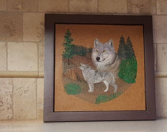 Spirit of the Wolf - Framed Machine Embroidery on Cork