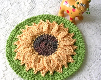 Crochet Sunflower Potholder - Crochet Sunflower Hot Pad - Retro Kitchen Decor - Round Cotton Crochet Potholder