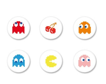 Lot Pins Ø25mm - o38mm Pinback Button Badge / Magnet o38mm Retro Vintage geeky Gamer Gaming PacMan Games Arcade Game