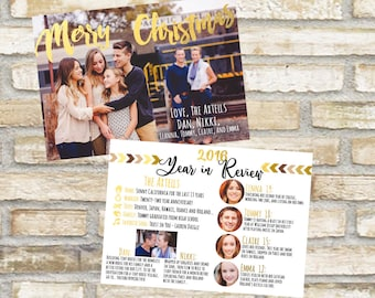 Year in review family photo christmas card or happy holiday mailer for friends and neighbors gold and white