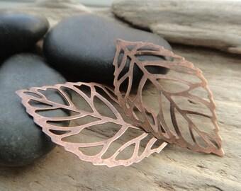 Copper Skeleton Leaves, Leaf Charms, Filigree Antique Copper Nature Pendants -5