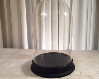 Large Vintage Glass Bell Cloche Dome Display with Black Wooden Base