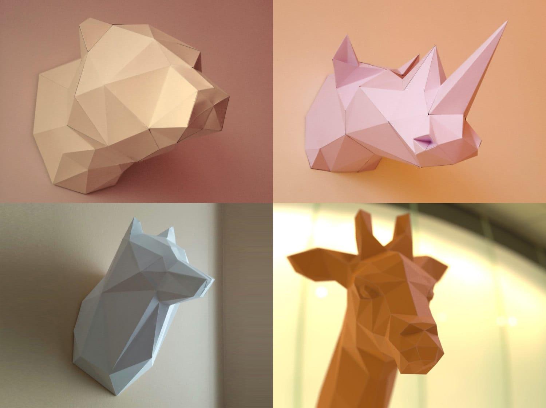 Bear Giraffe Wolf and Rhino 3D Papercraft Models Download