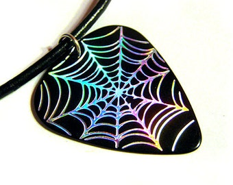 Spiderweb Guitar Pick Necklace, black and holo silver