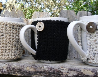 Tea or Coffee mug Cozy in Latte, Black, or Oatmeal, cup cozy, mug sweater, mug cover