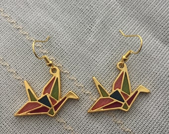 Japanese crane origami style resin earrings