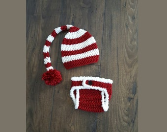 Baby elf hat and diaper cover, baby gift, baby hat set, crochet baby hat, baby boy newborn picture, christmas baby, newborn photo prop