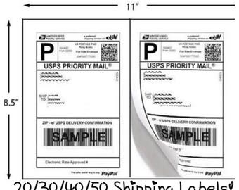FREE SHIPPING! 20/30/40/50 Pack Self Adhesive Shipping Labels