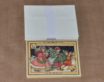 17 Vintage Unused Three Little Trees Susan Winget Christmas New Year Cards with Envelops, circa 1990s