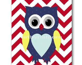 Owl Decor Owl Nursery Baby Boy Nursery art print Childrens Wall Art Baby Room Decor Nursery Decor Kids Print Baby Wall Art blue red