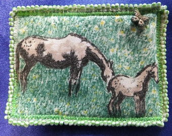 Tiny Art Quilt ATC Appaloosa Mare and Colt Grazing in a Field with a Butterfly