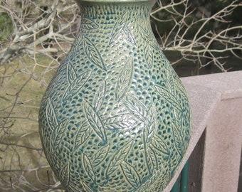 Vase Falling Leaves - Large Hand Carved Pottery - Visit shop for more...