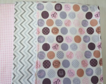 Burp Cloth Dots Chevron Stripes Gingham Pink Grey Flannel Terry Cloth Set of 3 XL