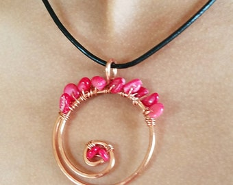 Magenta Gemstone and Copper Wire Wrapped Pendant eith Leather Cord