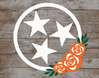Tennessee Tri Star Flag Vinyl Decal Car Yeti Tumbler Laptop Sticker