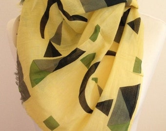 Geometric scarf - abstract scarf - colour block scarf - spring summer scarf - yellow scarf - Kandinsky womens scarf in 100% cotton