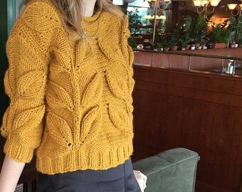 Women cable knit sweater mustard sweater knit short jumper chunky knit pullover bulky hand knit sweater leaf sweater bohemian sweater