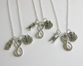 3 Owl Infinity Initial  Best Friend Sisters Necklaces BFF