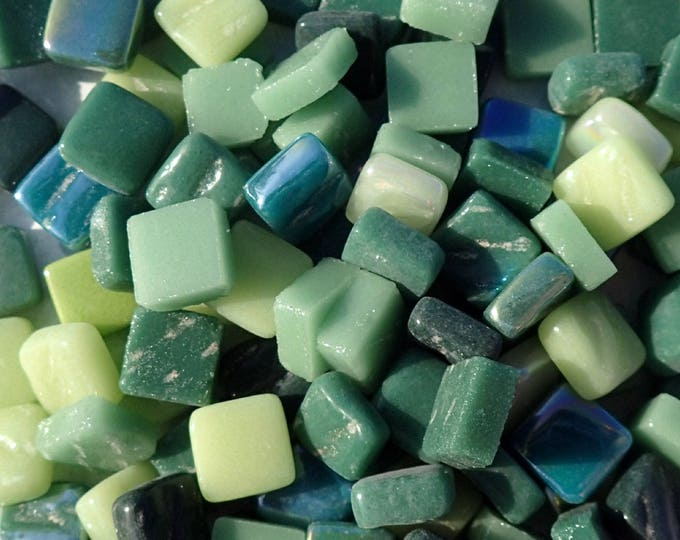 Forest Greens Mix Mini Glass Tiles - 8mm Square - 50 grams Opaque Glass Solid Color Mix of Pale and Dark Green Iridescent and Matte Tiles