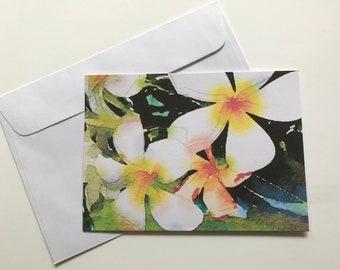 Flower Card; Plumeria; Frangipani; blank card