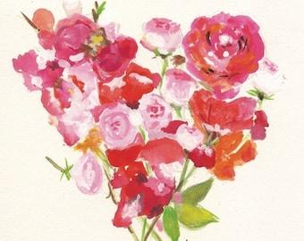 Heart Flower Notecard