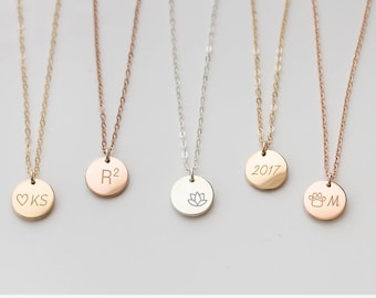 Customized Circle Necklace, Simple Everyday Necklace, delicate disc Necklace, Dainty Gold Tag, Silver, 14k Gold fill, engraved disc • NDV90