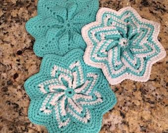 Teal Pinwheel Potholder, Teal Star Hot Pad, Crochet Cotton Teal Potholder, Teal Star Potholder, Teal Pinwheel Hot Pad